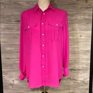 Bright pink ladies small Polo button down blouse